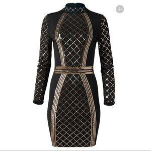 Venus Gold Black Sequin Bodycon Dress NYE 8